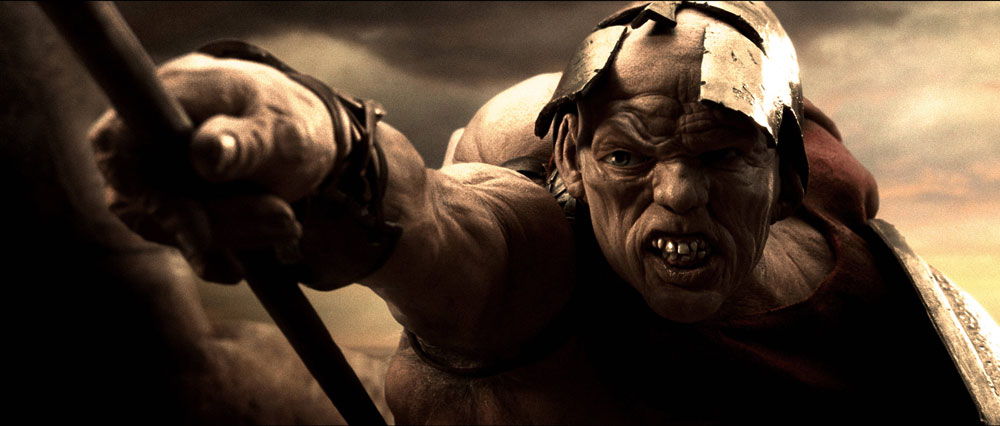"Ephialtes - abandoned child of a spartan family. Screen shot from a scene in the movie ""300."""