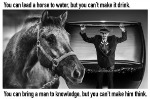 Horse to water, man to knowledge